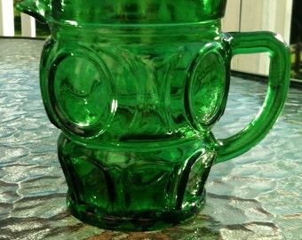 Green Bulls Eye Creamer...Mod Dot by Wheaton Glass Co.