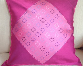 Pink Silk Cushion Covers UK, Silk Cushions, Patchwork Cushion Cover, Sudbury Silk, Home Decor, Envelope Back, teenage girl gift