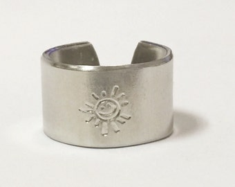Sun Ring, 1/2 wide adjustable hand stamped ring