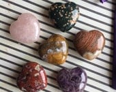 Handcarved gemstone puffy hearts