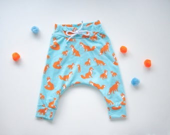 fox baby pants harem style in jersey knit slim fit drop waist pant bum pannel baby shower gift