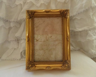 Vintage French Ornate Details Carvings Gilded Picture Frame Shabby Chic Paris