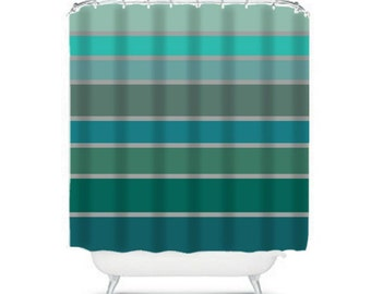 Teal Greens Gray Striped Shower Curtain