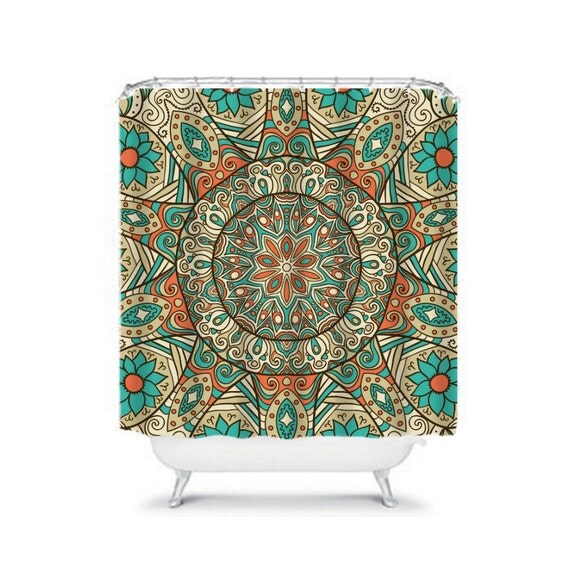 Items Similar To Shower Curtain Boho Mandala Teal Coral Orange Hippie Gypsy O