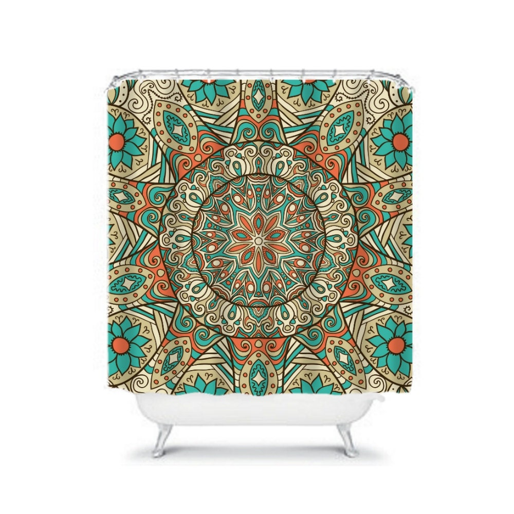 Shower Curtain Boho Mandala Teal Coral Orange By Folkandfunky
