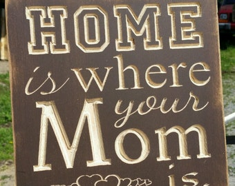 "Custom Carved Wooden Sign - ""Home Is Where Your Mom Is"""