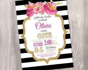 Girl birthday invitation, black and white birthday invitation, first birthday invite, floral, stripes, gold glitter, Printable Invitation
