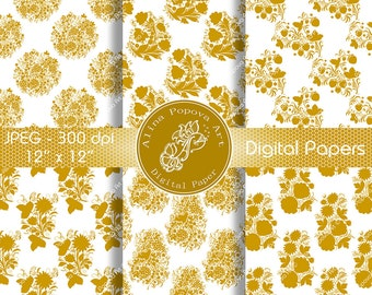 White Gold Digital Papers, Scrapbook Papers DP3