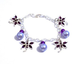 Dangly dragonfly charm bracelet, dragonfly bracelet, charm bracelet, purple bracelet, dangly bracelet