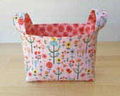 Small Fabric Storage Bin Basket - Little Birds and Flowers