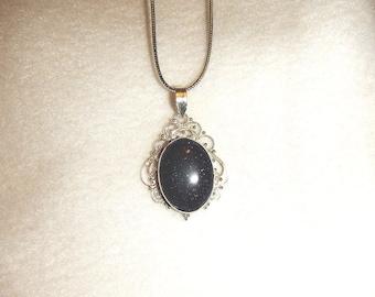CLEARANCE - Blue goldstone pendant necklace (P575)