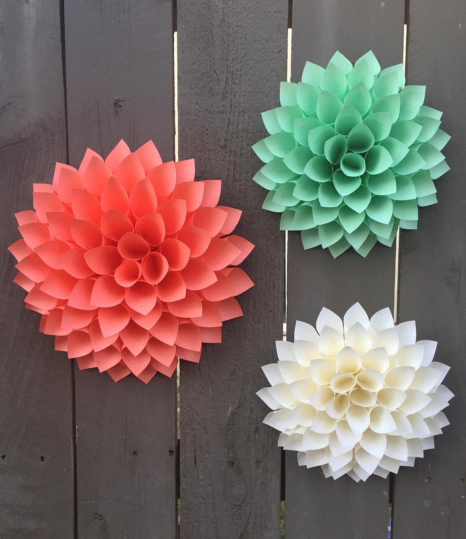paper flower dahlias cream coral mint green 3d wall