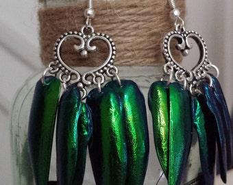Tibetan style heart earrings (Elytra Beetle Wings)