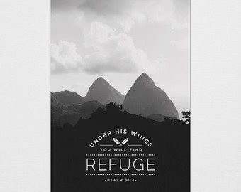 Under His Wings You Will Find Refuge Photography Typography Print