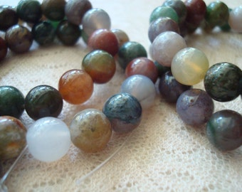 Sale! 15% Off Indian Agate Rounds. Multi Color, Undyed, Natural Beautiful Gemstone. 2 Sizes-- 8mm/6mm. 15.5inch Strand. ~USPS Ship Rates/OR