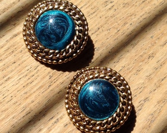 Vintage blue and gold clip on earrings