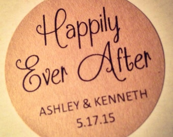 """Custom """"Happily Ever After"""" Wedding Favor Label, Rustic Bridal Shower, Rehearsal Dinner, Fairy Tale, Fall, Candy Buffet Sticker, Brown Kraft"""