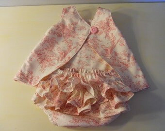 Baby Sundress With Ruffled Bloomers, Kaufman Children At Play Toile,Open Back Baby Dress With Button Closure, 0-3 Mo thru 18-24 Mo