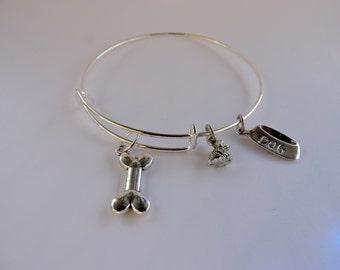 Dog Lovers Charm Bracelet, Bangle Bracelet, Adjustable Bangle