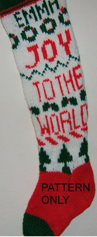 Knitting Pattern Christmas Stocking Name : PDF Knitted Christmas Stocking Pattern