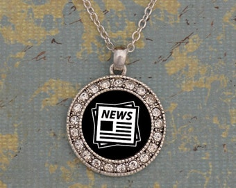 Newspaper Round Necklace