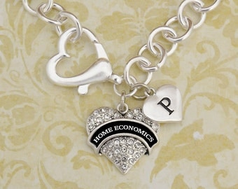 Custom Initial Home Economics Open Heart Necklace
