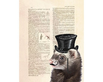 Ferret in a Tophat Art on Dictionary Page | Digital Download