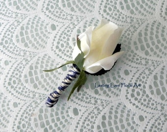 Real Touch Rose Wedding Boutonniere, Real Touch Boutonniere, Grooms Boutonniere, Rose Boutonniere, Navy Wedding Boutonniere