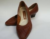80s Brown Leather Woven Heels
