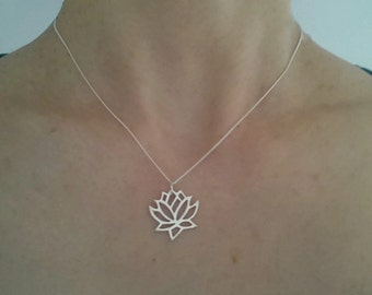 Sterling Silver Lotus Necklace. 925 silver. UK seller