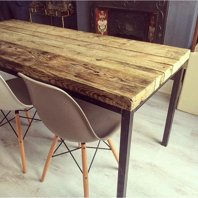 Industrial Metal Dining Table: Reclaimed Industrial Chic 6-8 Seater Solid Wood And Metal