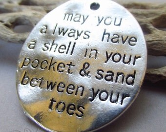 Beach Charms - 2/5/10 Wholesale Ocean Themed Antiqued Silver Plated Message Pendant C8765