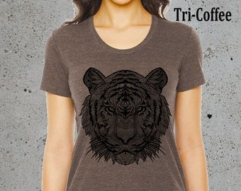 Yoga Clothes,Womens TRIBAL Tiger T Shirt Top)American Apparel,Graphic Tee,Gift Women Gifts-Boho-Birthday Gifts
