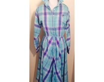 80s turquoise plaid cotton shirtdress