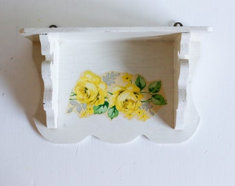 Shabby Chic Shelf, White Scalloped Shelf with Yellow Rose Decal