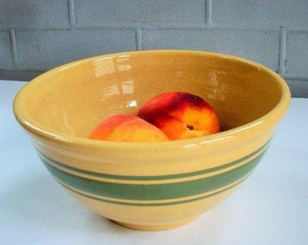 Vintage Classic Weller Green-Striped / Serving Bowl / Simple Style