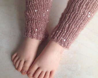 Hand Knitted Legwarmers with Rose Sequins