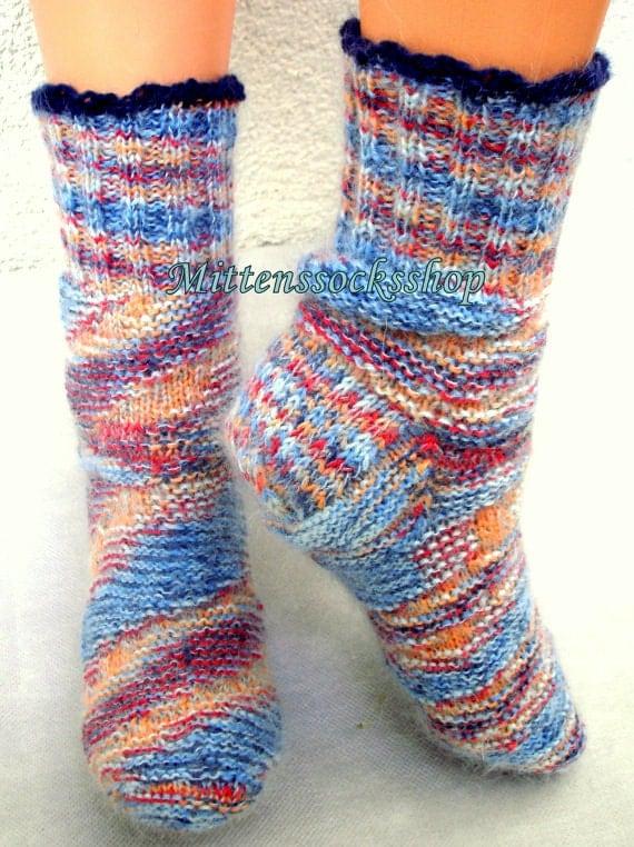 Knitting Patterns Sleeping Socks : Wool socks Hand knitted socks from sock yarn by MittensSocksShop