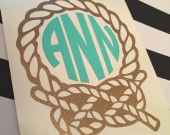 Nautical Monogram - Rope Monogram Vinyl Decal