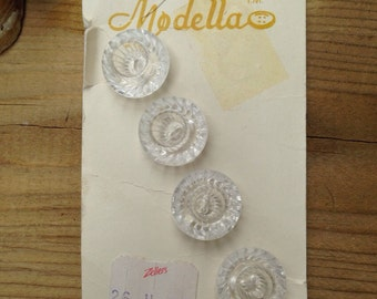 4 Pretty Crystal look Buttons on Card Vintage Buttons Chunky Thick Buttons Clear Buttons