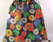 Knitting Window Project Bag Fabric Bright Daisies on Black and Clear Vinyl