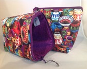 Knitting Project Bag with zipper Bright Mexcan Pots with Purple Lining