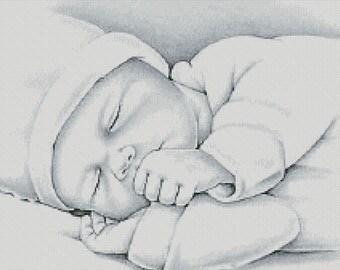 Cross Stitch Pattern ''Sleeping Child'' PDF