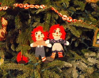 Raggedy Anne and Andy Handmade Christmas Ornaments
