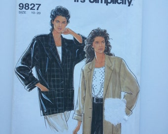 Summer blazer jacket / 90s / casual blazer/ vintage 1992 sewing pattern, Sizes 10 12 14 16 18 20, Bust 32 34 36 38 40 42, Simplicity 9827