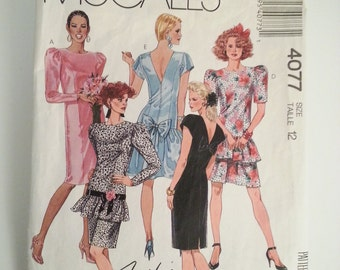 80s prom dress / Party dresses for women / ruffle dress/ bow / 1980s Vintage 1988 Sewing Pattern, Size 12, Bust 34, Waist 26, McCalls 4077