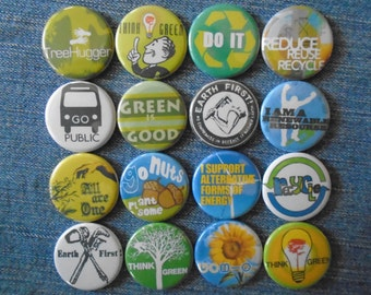 "Tree hugger 1.25"" Pin back buttons Set of 16 Different Eco-activism Earth First Badges great for Earth Day, Hippies,  activists, gift set"