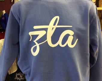 Flo Blue Zeta Tau Alpha Comfort Colors Sweatshirt and Tshirts