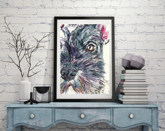 Schnauzer Dog Gift, Schnauzer Painting, Print from original Watercolor and acrylic schnauzer dog painting 8x10, 11x14,schnauzer art print