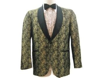 Vintage 60s Dinner Jacket Men's Tux Tuxedo Blazer Gold Marbled Formal Smoking 41
